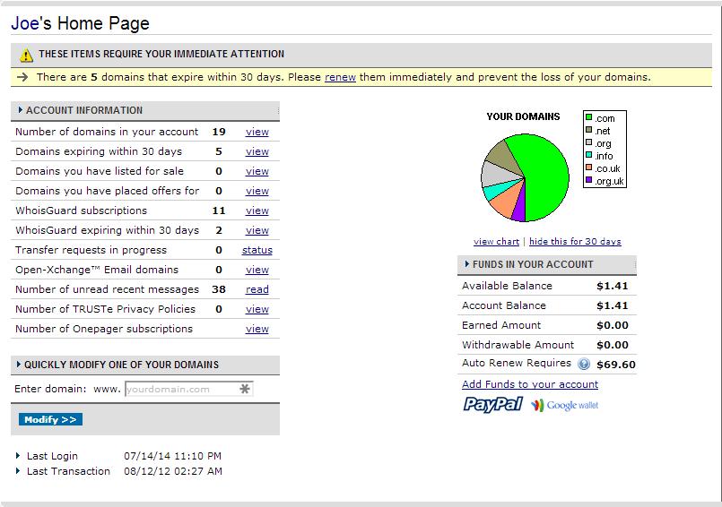 Domains NameCheap Dashboard