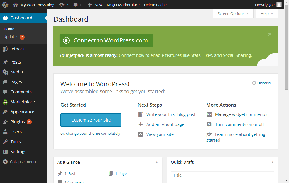 cPanel QuickInstall Dashboard