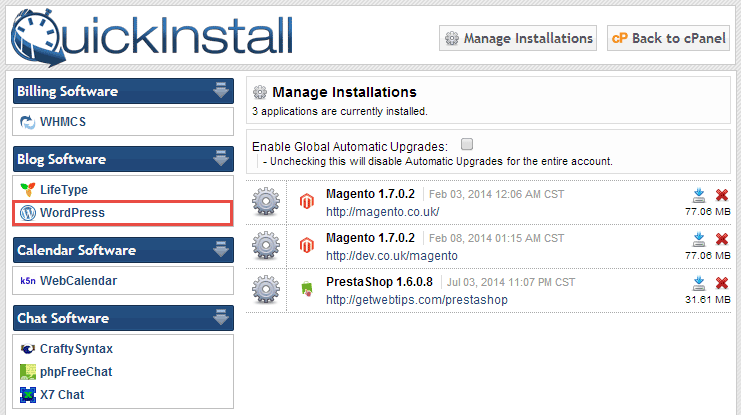 cPanel QuickInstall WordPress