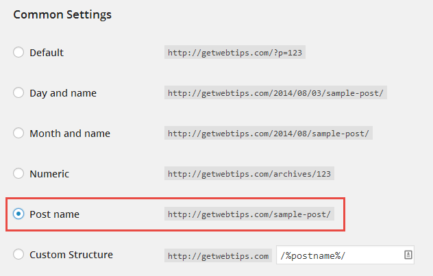 Essential Tasks Permalinks Post Name